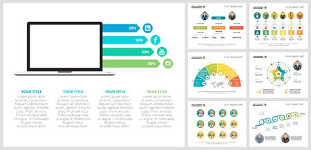 Colorful planning or startup concept infographic charts set. Business design elements for presentation slide templates. For corporate report, advertising, leaflet layout and poster design. Ilustracja