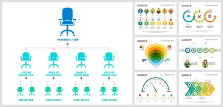 Colorful startup or workflow concept infographic charts set. Business design elements for presentation slide templates. Can be used for financial report, workflow layout and brochure design.