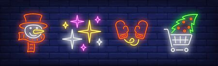 Xmas symbol in neon style collection. Snowman, Christmas tree, mittens. Night bright advertisement. Vector illustration in neon style for banner, billboard