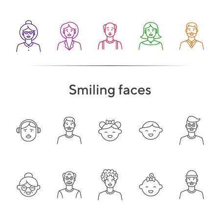 Smiling faces icons. Set of line icons on white background. Senior woman, baby, balding man. People concept. Vector illustration can be used for topics like application, lifestyle, family