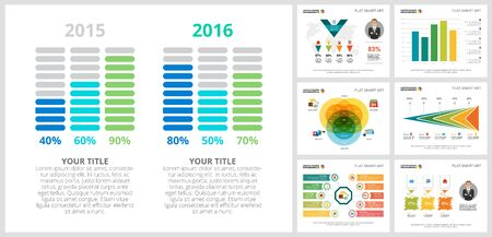 Colorful analysis or banking concept infographic charts set. Business design elements for presentation slide templates. Can be used for annual report, advertising, flyer layout and banner design.