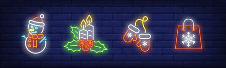 Merry Xmas set in neon style. Snowman, bag with snowflake, mittens. Night bright advertisement. Vector illustration in neon style for banner, billboard