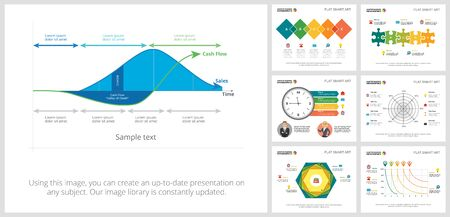 Colorful finance and analytics concept infographic charts set. Business design elements for presentation slide templates. For corporate report, advertising, leaflet layout and poster design. Ilustracja