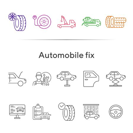 Automobile fix line icons. Set of line icons. Wheel, winter tyre, tools. Car repair concept. Vector illustration can be used for topics like car service, business, advertising