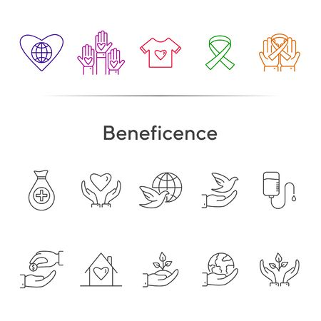 Beneficence icons. Line icons collection on white background. Cancer ribbon, conservation, crowdfunding. Help concept. Vector illustration can be used for topics like charity, support, volunteering