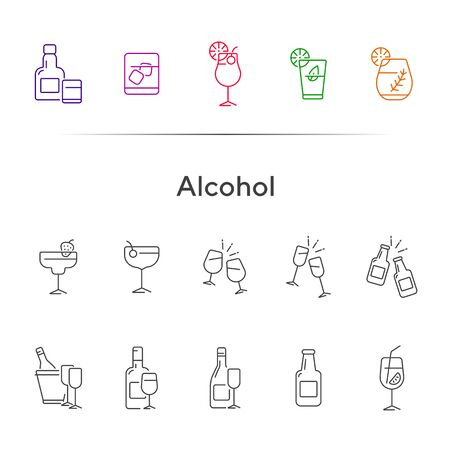 Alcohol line icons. Set of line icons. Glass with cocktail, bottle with glasses. Beverage concept. Vector illustration can be used for topics like advertising, business