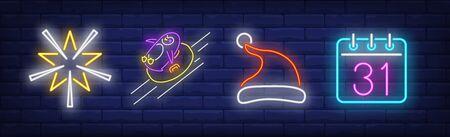 Xmas decoration neon sign set. Star, New Year cap, calendar. Night bright advertisement. Vector illustration in neon style for banner, billboard