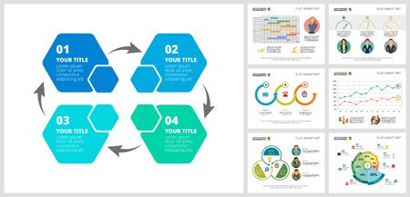 Colorful statistics or teamwork concept infographic charts set. Business design elements for presentation slide templates. For corporate report, advertising, leaflet layout and poster design.