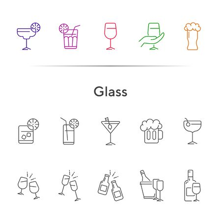 Glass line icons. Set of line icons. Beer mug, glasses. Beverage concept. Vector illustration can be used for topics like advertising, business