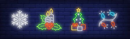 New Year decoration in neon style set. Snowflake, garland, Christmas tree. Night bright advertisement. Vector illustration in neon style for banner, billboard  イラスト・ベクター素材
