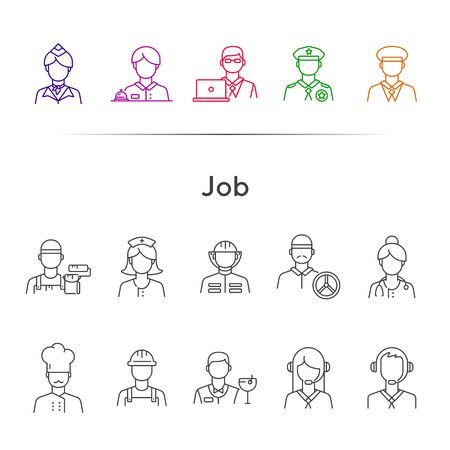 Job icons. Set of line icons on white background. Call center operator, manager, policeman. Profession concept. Vector illustration can be used for topics like career, service, occupation Illustration