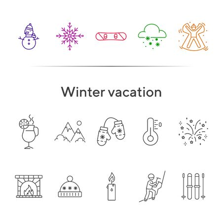 Winter vacation line icon set with snowflake and snowfall. Snow angel, snowboard, snowman. Hello winter concept. Can be used for topics like New year, holidays, outdoor activity