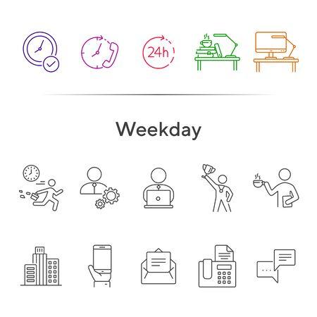 Conjunto de iconos de línea de día de la semana. Tarde para el trabajo, descanso para tomar café, edificio de oficinas. Concepto de negocio. Puede usarse para temas como trabajador, empleado, gerente Ilustración de vector