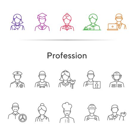 Profession icons. Set of line icons on white background. Hotel receptionist, chef, doctor. Occupation concept. Vector illustration can be used for topics like career, skill, specialists 矢量图像