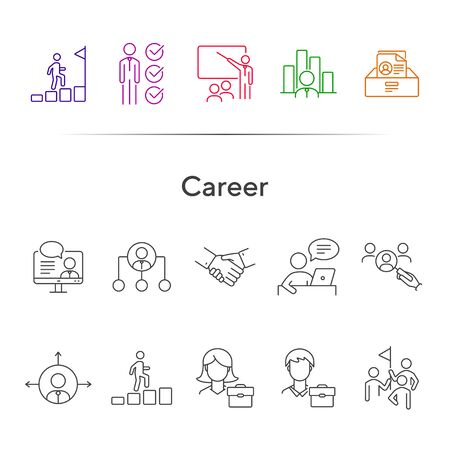 Career icons. Line icons collection on white background. Professional skills, hierarchy, team. Business concept. Vector illustration can be used for topic like management, planning, strategy