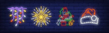 Xmas decoration neon sign collection. Garland, star, New Year cap. Night bright advertisement. Vector illustration in neon style for banner, billboard