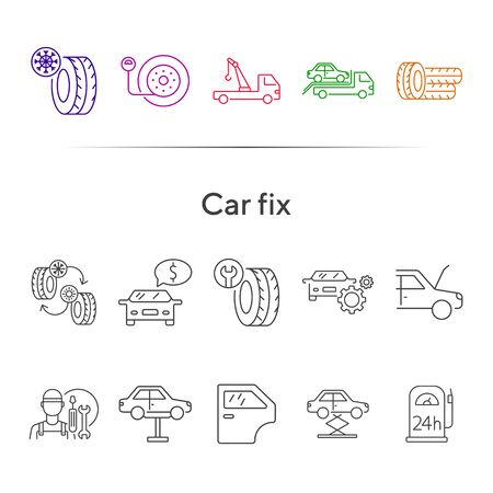 Car fix line icons. Set of line icons. Car lift, evacuator, mechanic. Car repair concept. Vector illustration can be used for topics like car service, business, advertising