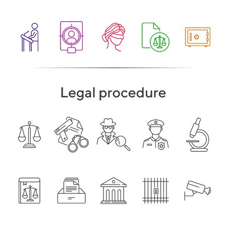 Legal procedure line icon set. Lawyer, attorney, detective, courthouse. Justice concept. Can be used for topics like trial, court, prison, investigation