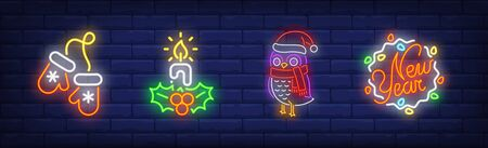 New Year neon sign collection. Candle, mittens, New Year. Night bright advertisement. Vector illustration in neon style for banner, billboard  イラスト・ベクター素材
