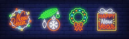 Christmas symbol collection in neon style. Garland, Christmas baubles, Christmas wreath. Night bright advertisement. Vector illustration in neon style for banner, billboard