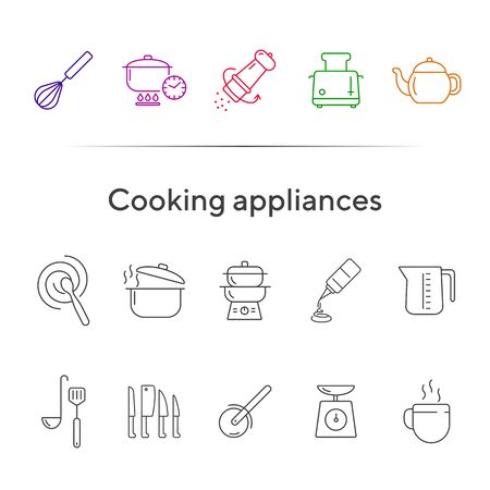 Cooking appliances icons. Set of line icons. Whisk, mixing spoon, toaster. Culinary concept. Vector illustration can be used for topics like restaurant business, cooking