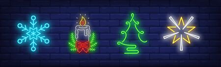 Christmas decoration neon sign collection. Snowflake, star, garland. Night bright advertisement. Vector illustration in neon style for banner, billboard