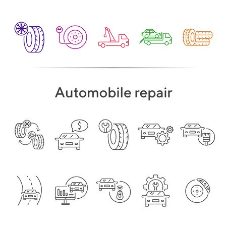 Automobile repair line icons. Set of line icons. Accumulator, evacuation, pressure. Car repair concept. Vector illustration can be used for topics like car service, business, advertising