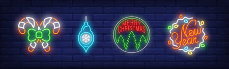 Christmas baubles set in neon style. Garland, candy cane, Christmas bauble. Night bright advertisement. Vector illustration in neon style for banner, billboard  イラスト・ベクター素材