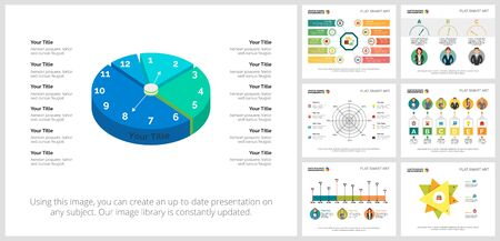 Colorful statistics or banking concept infographic charts set. Business design elements for presentation slide templates. For corporate report, advertising, leaflet layout and poster design. Ilustracja