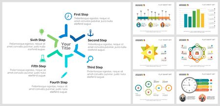 Colorful consulting or marketing concept infographic charts set. Business design elements for presentation slide templates. Can be used for financial report, workflow layout and brochure design. Ilustracja