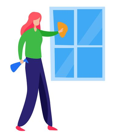 Woman washing window. Chores, housework flat vector illustration. Household concept for banner, website design, landing web page