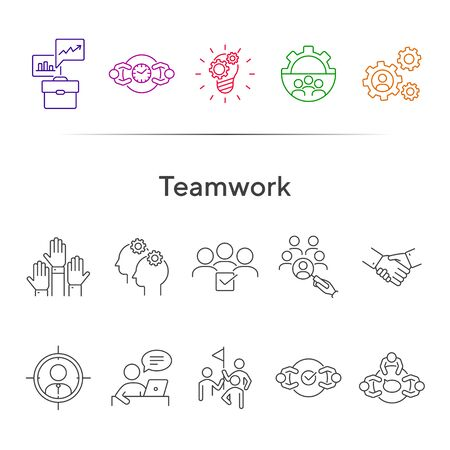 Teamwork line icon set. Team, staff, meeting, discussion, success. Business concept. Can be used for topics like partnership, unity, project management  イラスト・ベクター素材
