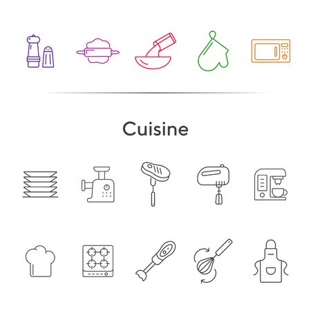 Cuisine line icons. Set of line icons. Pinafore, microwave oven, blender. Culinary concept. Vector illustration can be used for topics like restaurant business, cooking Ilustracja