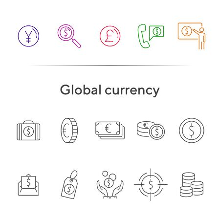 Global currency icon set. Dollar, cash, tax. Finances concept. Can be used for topics like converting money, trade, economy Çizim