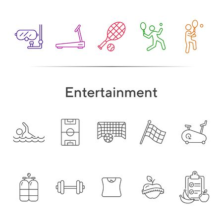 Entertainment line icon set. Tennis, soccer, diet. Sport concept. Can be used for topics like game, activity, wellness Foto de archivo - 134860270