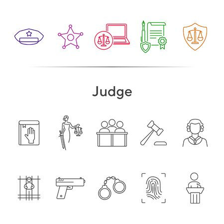 Judge line icon set. Sheriff badge, judge gavel, suspect, gun. Justice concept. Can be used for topics like crime, trial, courthouse Illusztráció