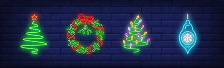 Christmas decoration neon sign set. Christmas tree, garland, fir. Night bright advertisement. Vector illustration in neon style for banner, billboard Banque d'images - 134691998