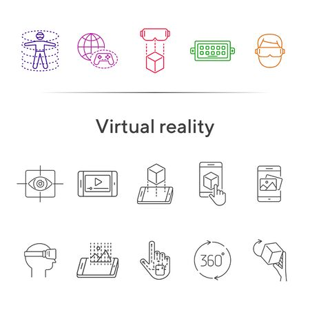 Virtual reality line icons. 360 degrees, robotic hand, 3D modeling. Virtual reality concept. Vector illustration can be used for topics like VR, modern technologies, inventions