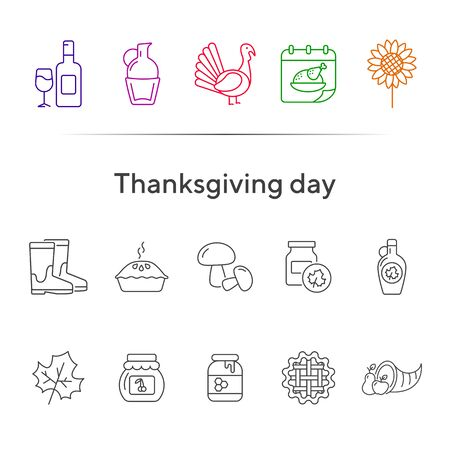 Thanksgiving day line icon set with wine, pie and turkey. Jars, bottles, maple leaf, food. Thanksgiving concept. Can be used for topics like autumn, holiday, dinner, harvest