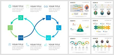Colorful workflow or strategy concept infographic charts set. Business design elements for presentation slide templates. Can be used for financial report, workflow layout and brochure design. Ilustracja