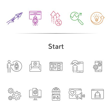 Start line icon set. Launch, gear, rocket, computer. Business concept. Can be used for topics like project, internet marketing, seo, startup Illusztráció