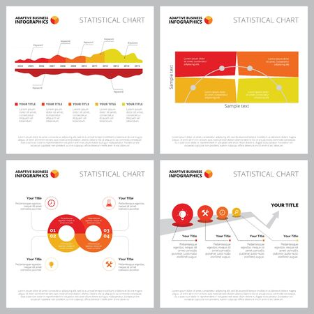 Creative diagram set for marketing report, business project, web design, presentation slide template. Planning and strategy concept. Timeline, area, option, cycle, process charts Illustration