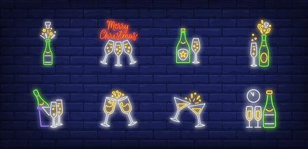 Christmas champagne neon sign set. Fizzy wine, bottle, flutes. Vector illustration in neon style, bright banner for topics like Xmas, New Year party, holiday Foto de archivo - 134691994