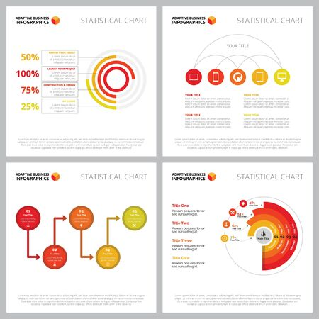Creative infographic set for annual report, business project, presentation slide template. Marketing and statistics concept. Percentage, comparison, option, process charts