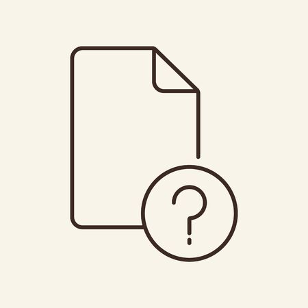 Document question icon element. Document concept. Vector. Outline design. Flat illustration can be used for web design, user interface, infographics, mobile application Illustration