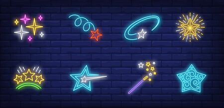 Christmas stars neon sign set. Magic wand, motion, miracle. Vector illustration in neon style, bright banner for topics like New Year, party, celebration, fun Banque d'images - 134691905