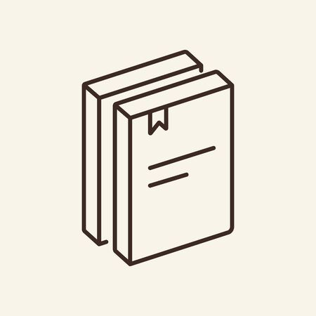 Books outlines with bookmark. Education concept. Vector. Thin line icon. Flat vector illustration can be used for web design, printing, advertising, decoration