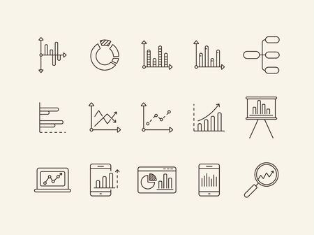 Data for reports line icon set. Chart, diagram, analytics isolated outline sign pack. Graph, analysis, statistics concept. Vector illustration symbol elements for web design and apps Illustration