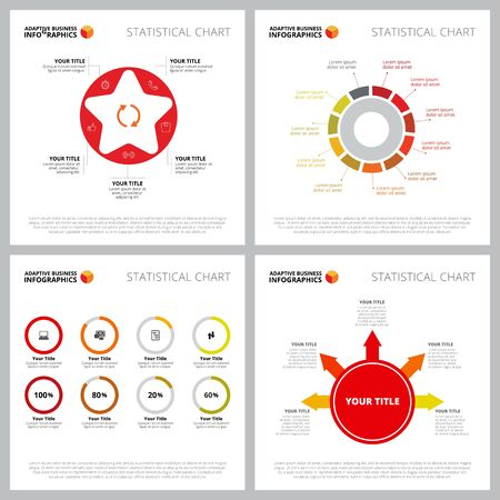 Creative infographic set for analytics, web design, business project, marketing report. Analysis and statistics concept. Cycle, option, comparison, percentage charts