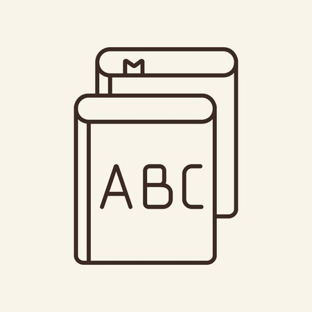 Alphabet outline. Thin line icon. Education concept. Letter and bookmark. Vector illustration can be used for icon, web design, mobile application and user interface